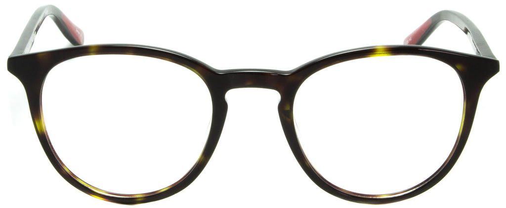 Edward Beiner Collection-Ray-999-502 - Tortoise . Front view. Designer eyeglasses with clip on sunglasses available exclusively at Edward Beiner Boutiques.