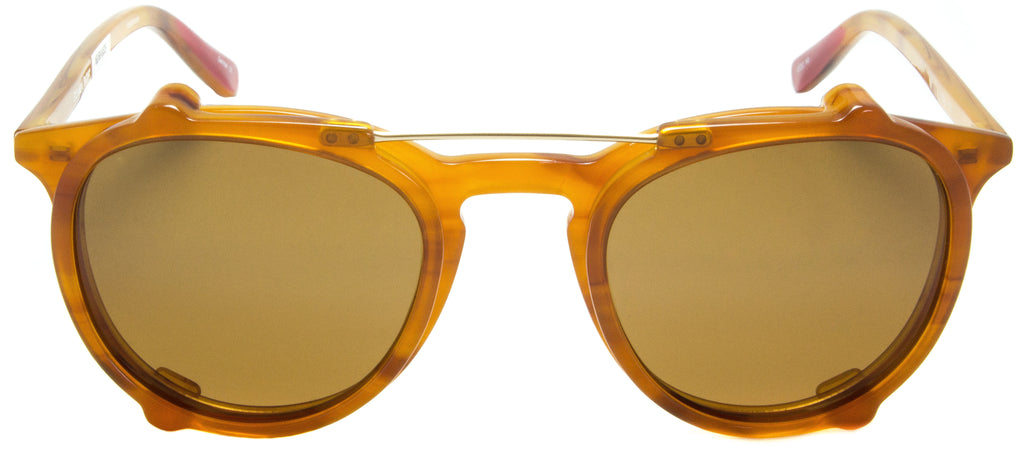 Edward Beiner Collection-Ray-999-522 - Amber . Front view. Designer eyeglasses with clip on sunglasses available exclusively at Edward Beiner Boutiques.