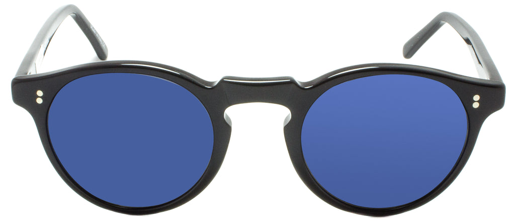 Edward Beiner Warren Sun Black/Blue. Designer sunglasses handmade in Italy available exclusively at Edward Beiner fine eyewear boutiques. Front view.