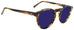 Edward Beiner Warren Sun Tort/Blue. Designer sunglasses handmade in Italy available exclusively at Edward Beiner fine eyewear boutiques. Side view.