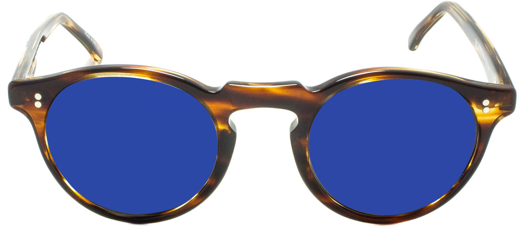 Edward Beiner Warren Sun Tort/Blue. Designer sunglasses handmade in Italy available exclusively at Edward Beiner fine eyewear boutiques. Front view.