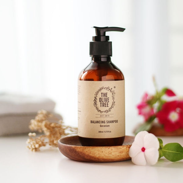 balancing geranium natural shampoo for oily scalp dry frizzy hair