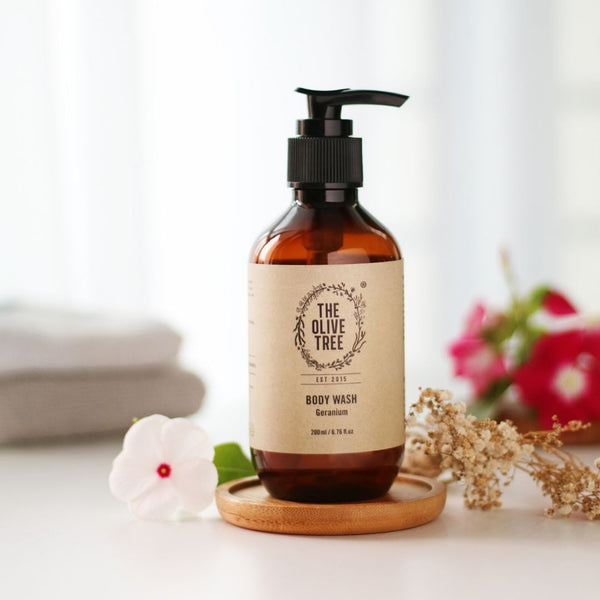 geranium natural body wash for dry skin