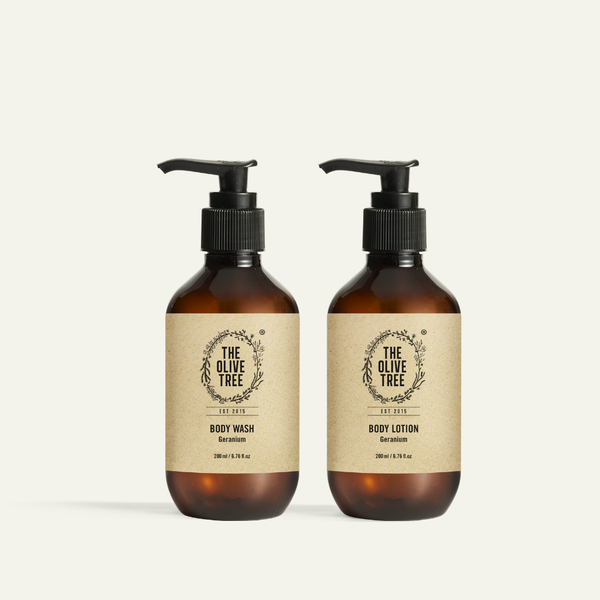 natural geranium body wash and body lotion for dry skin