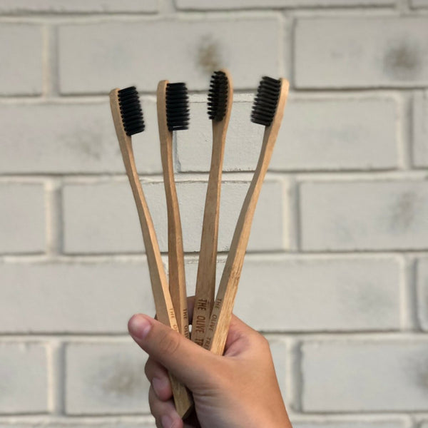 biodegradable bamboo toothbrush charcoal infused polyester bristles