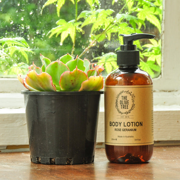 rose geranium natural body lotion sulphates free paraben free