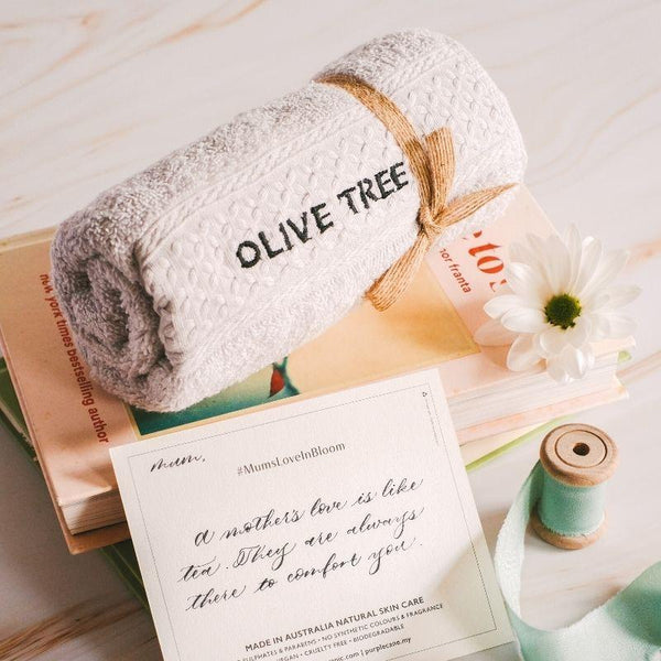 The Olive Tree Personalised Organic Cotton Face Towel in grey