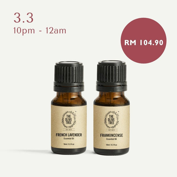 The Olive Tree 100% Pure Essential Oil Relaxing Duo French Lavender Frankincense