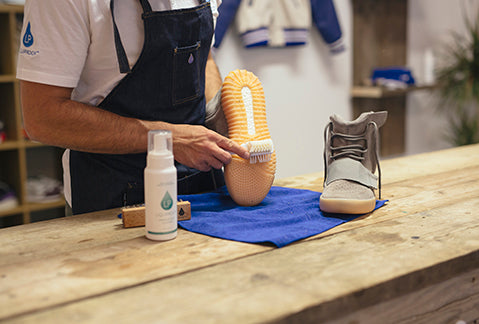 Trainers treated with the Liquiproof care service