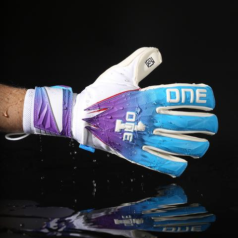 A goalkeeper glove from The One Glove treated with Liquiproof