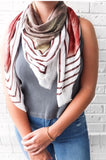 Striped Burnt Orange and Green Scarf