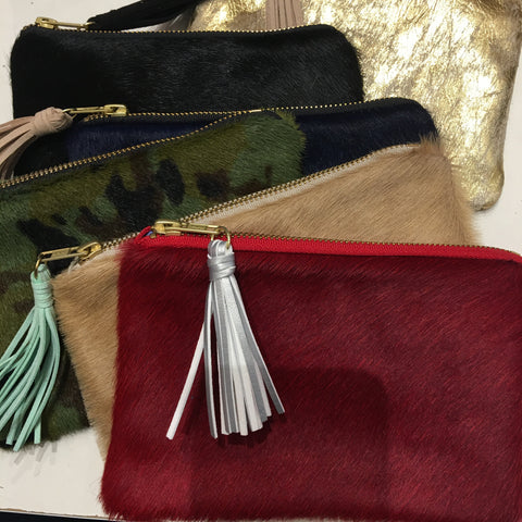 Hide Hair Mini Zippered Clutch