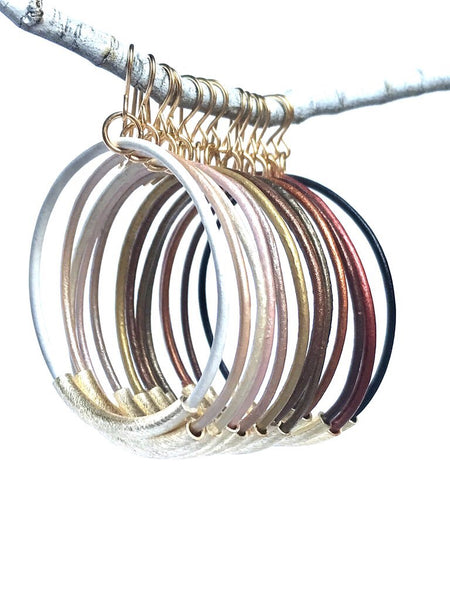 Leather & 14K Gold Hoop Earrings