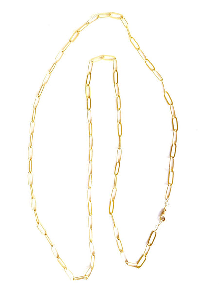 Gold Flat Link Chain Necklace