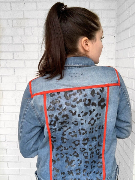 Leopard Hand painted Denim Jacket