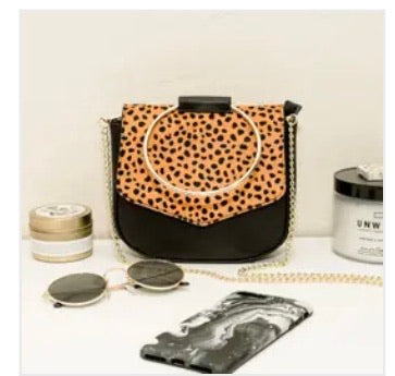 Circle Handle Leopard and Leather Bag