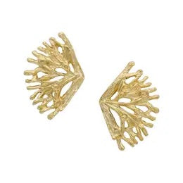 Gold Coral Branch Studs