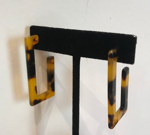 Tortoise Shell Rectangular Earrings