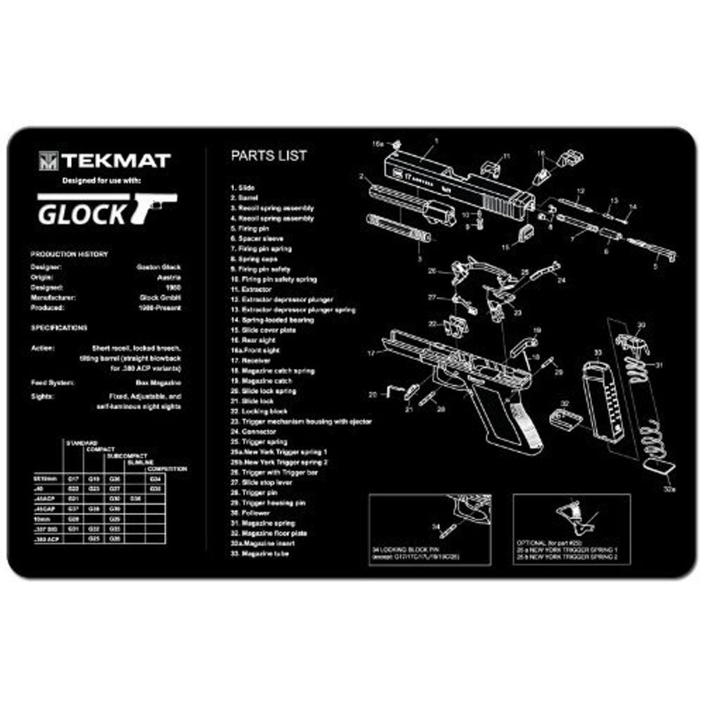 "Glock TekMat 11"" X 17"" Cleaning Mat w/ White Imprint Over Black Mat"