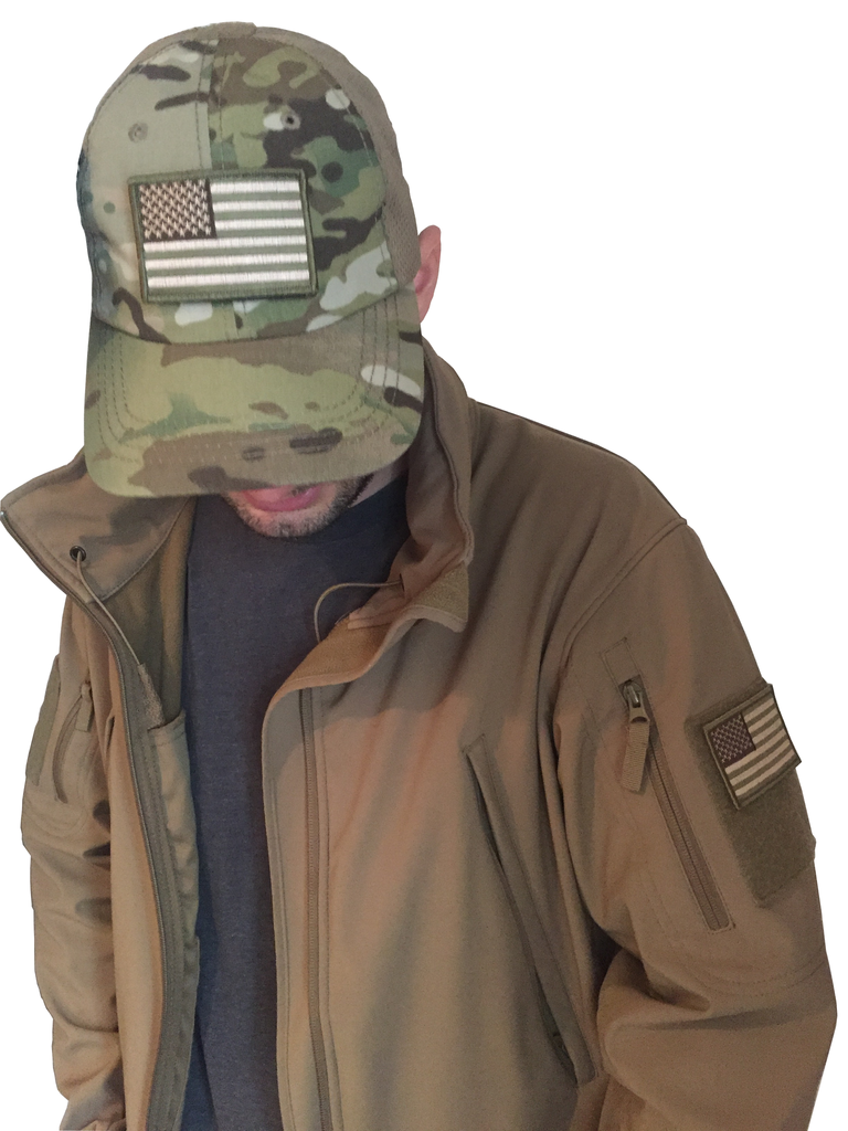 Multicam Tactical Cap With USA Flag Patch Bundle By 2A Tactical Gear & Condor Tactical  Outdoor - Operator Tactical Multicam Baseball Hat With Velcro American Flag Patch