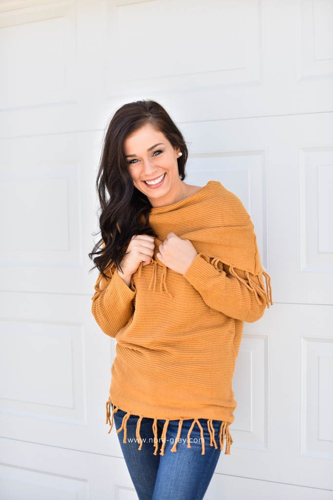 marlene fringe sweater in mustard