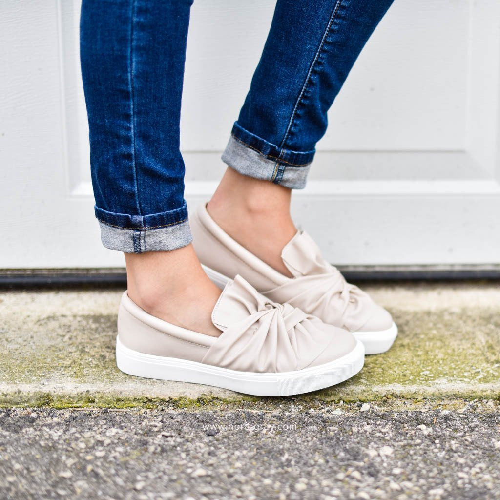 Knotted Sneakers in Blush