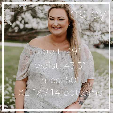 "Meet Model Haley 49"" Bust 43.5"" Waist 50"" Hips"