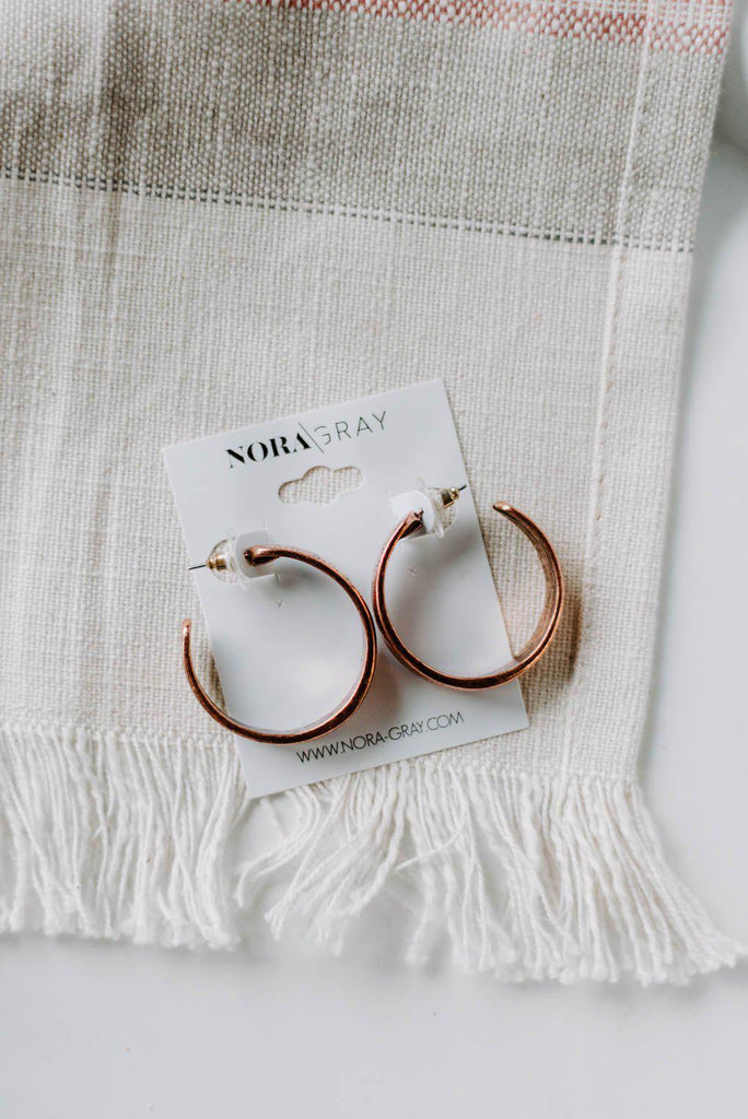 Copper Textured Hoops-Nora Gray Boutique