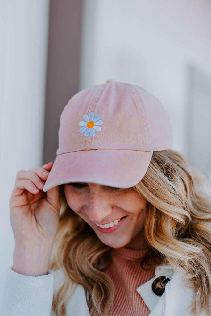 Daisy Embroidery Baseball Cap - Dusty Pink-Nora Gray Boutique