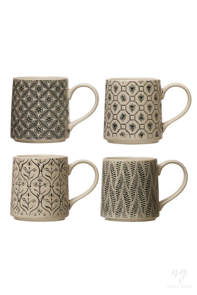Embossed Stoneware Mugs - 4 Styles-Nora Gray Boutique