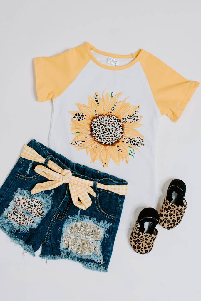 Girls Sunflower & Denim Short Set-Nora Gray Boutique