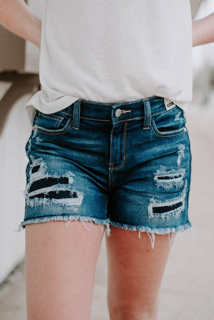 Judy Blue Mid-Rise Patch Denim Shorts-Nora Gray Boutique
