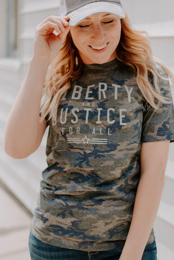 Liberty & Justice Camo Graphic Tee-Nora Gray Boutique