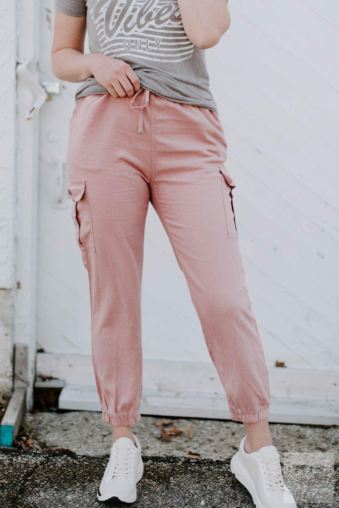 Lightweight Linen Utility Joggers - 2 Colors-Nora Gray Boutique
