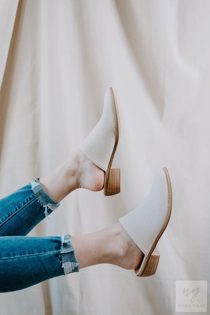 Luxe Off White Leather Snakeskin Mules *FINAL SALE*-Nora Gray Boutique