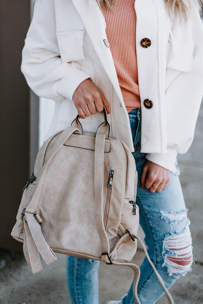 Maddie Backpack w/ Front Slip Pocket- Ivory-Nora Gray Boutique