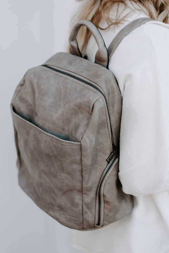 Maddie Backpack w/ Front Slip Pocket- Stone-Nora Gray Boutique