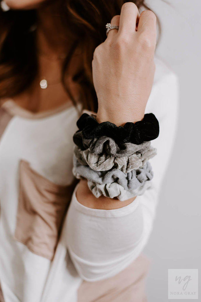 Set of 5 Soft Scrunchies- Black/Grays-Nora Gray Boutique