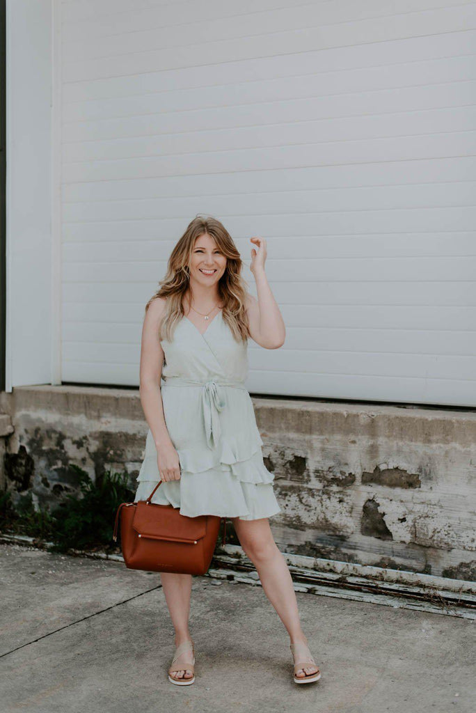Stella Ruffle Dress With Belt Bow-Nora Gray Boutique