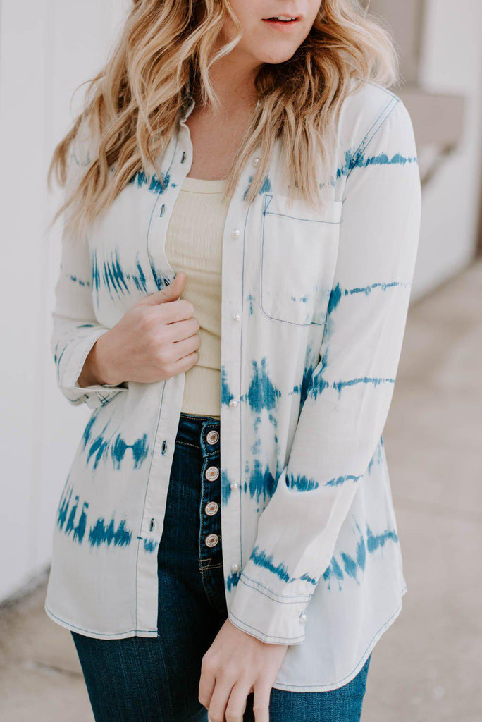 Tie Dye Chambray Button Up Top-Nora Gray Boutique