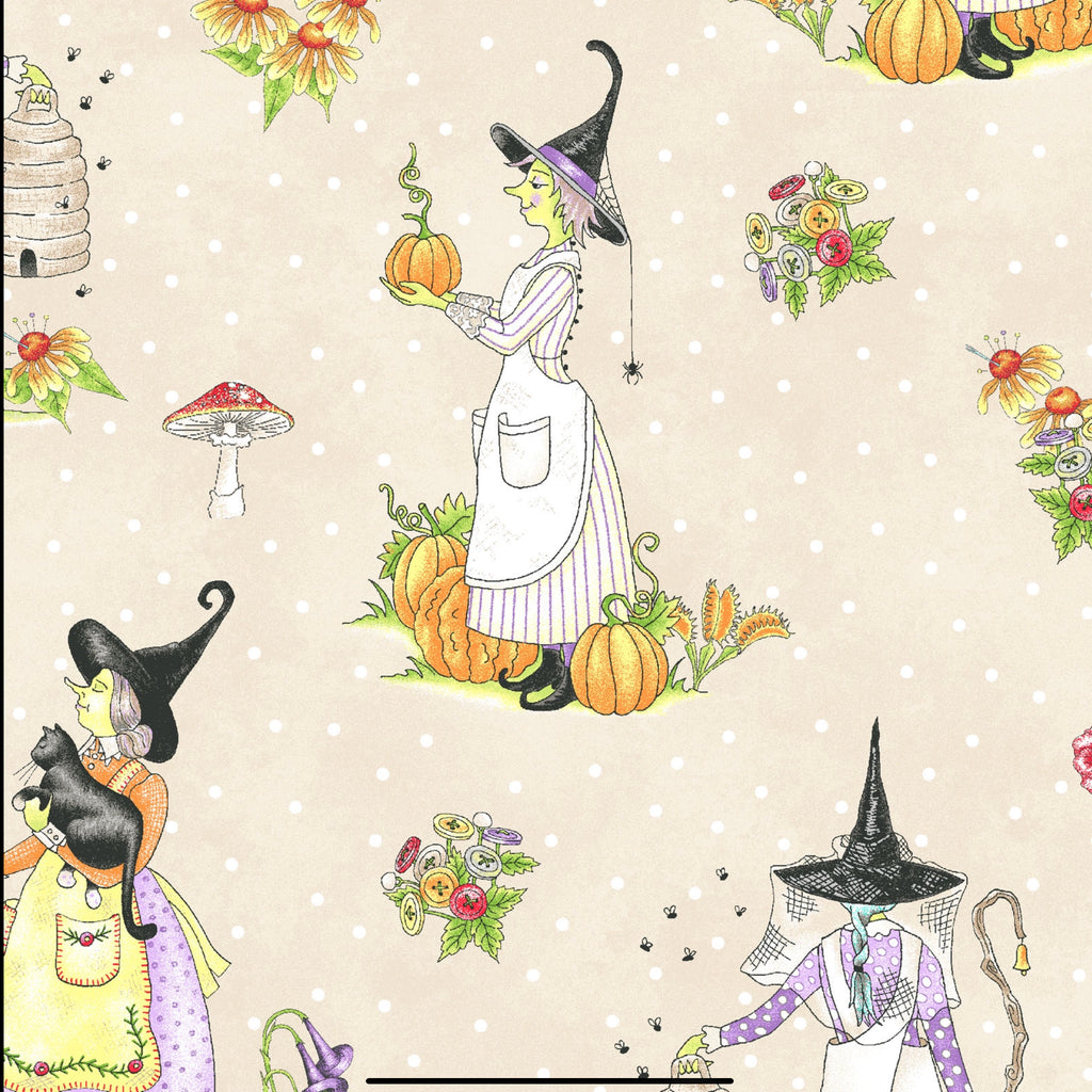 LITTLE WITCHES - CREAM from the Spellcasters Garden Fabric Line, Toad Hollow Fabrics