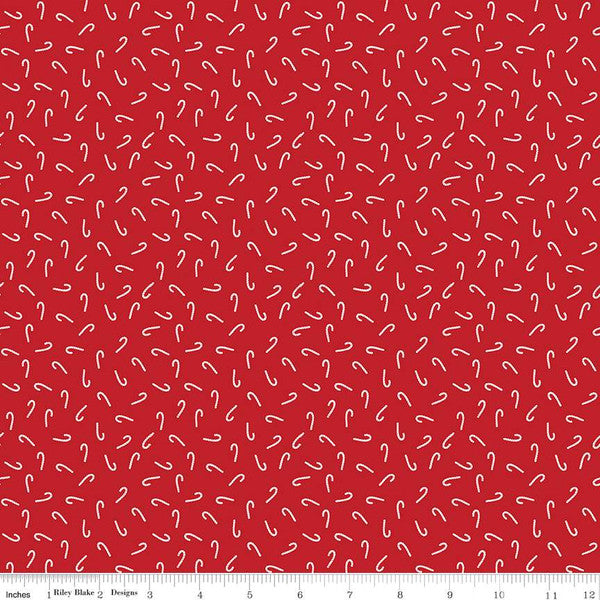 SANTA CLAUS LANE CANDY CANES RED - from Riley Blake Designs, Toad Hollow Fabrics