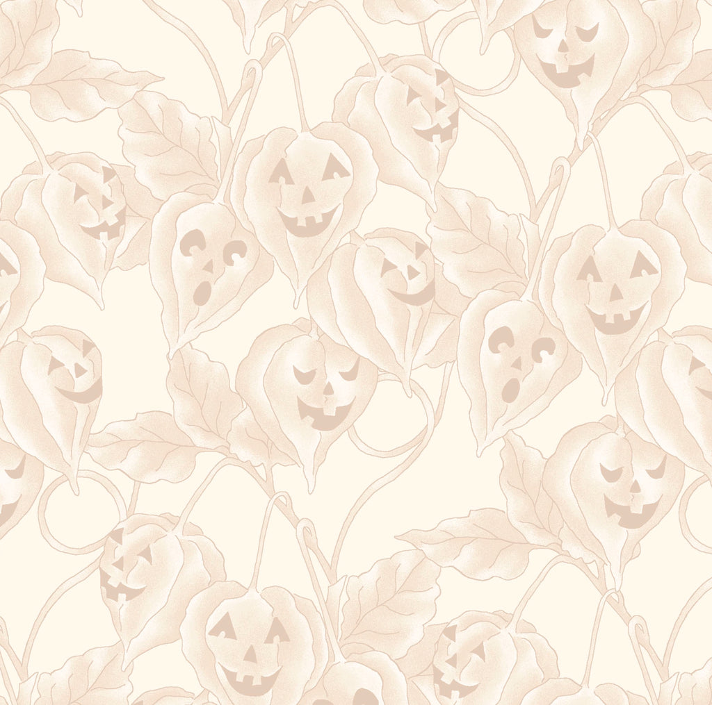 JACK-O-LANTERN VINE - CREAM from the Spellcasters Garden Fabric Line, Toad Hollow Fabrics
