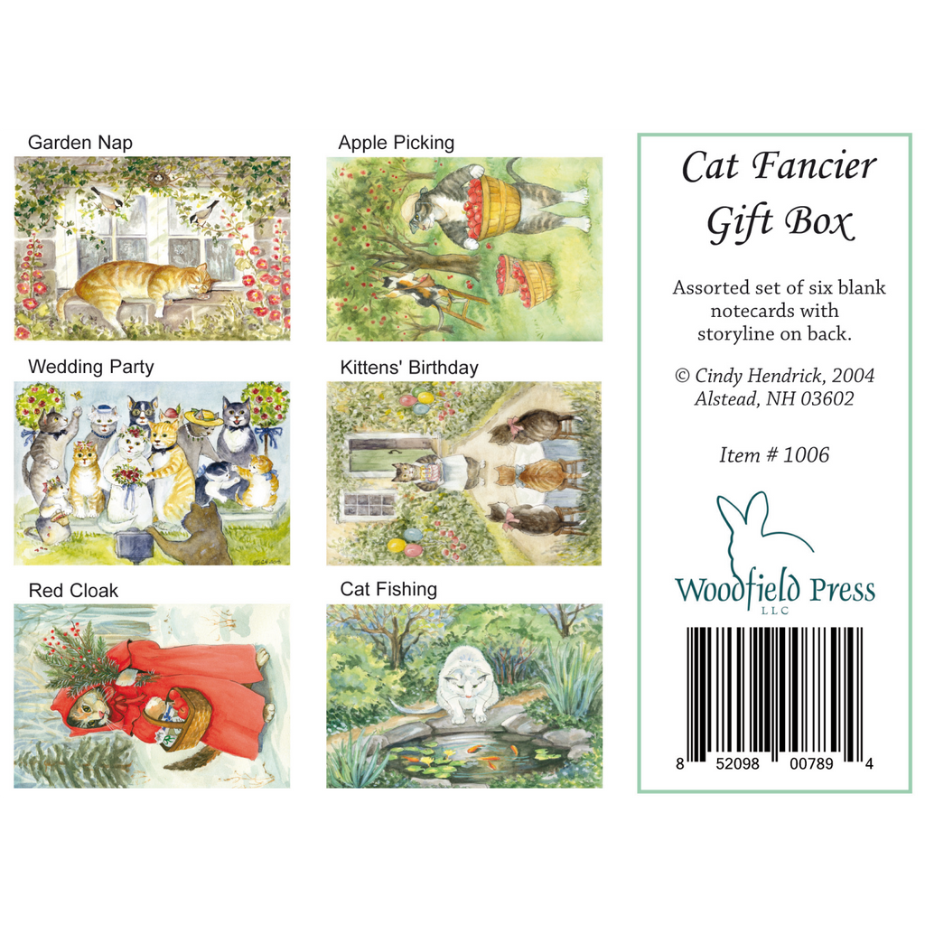 CAT FANCIER GIFT BOX SET of cards - Box of 6 Cards from Woodfield Press Toad Hollow Fabrics