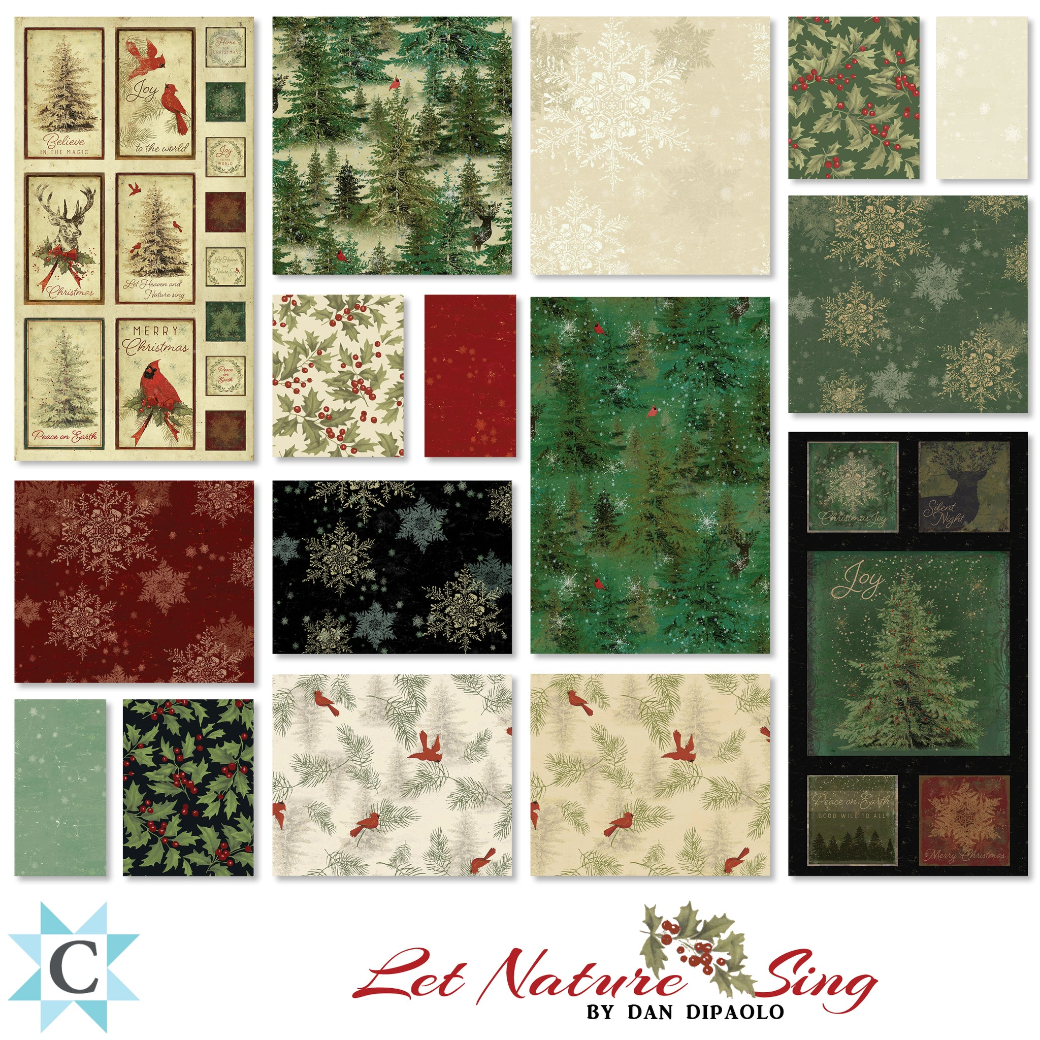 SNOWFLAKES in Forest from the Let Nature Sing Line, Toad Hollow Fabrics