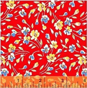 SUGARSACK II- MultiFlowers/Red Background - by Whistler Studios, 100% Cotton, Toad Hollow Fabrics