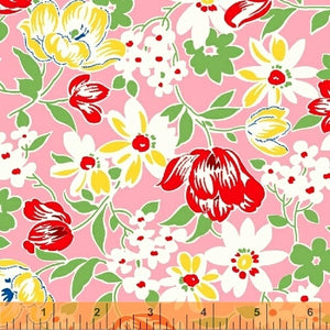 SUGARSACK II- Large Flowers/Pink Background - by Whistler Studios, 100% Cotton, Toad Hollow Fabrics