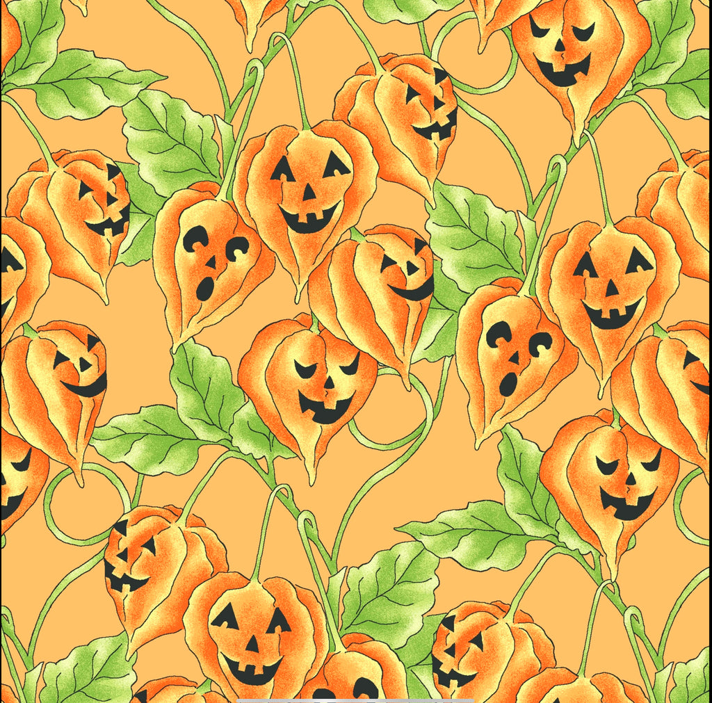 JACK-O-LANTERN VINE - ORANGE from the Spellcasters Garden Fabric Line, Toad Hollow Fabrics