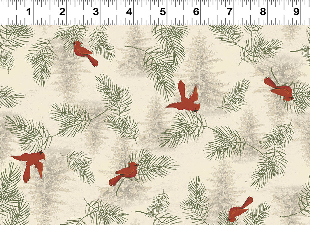 CARDINALS in Light Khaki from the Let Nature Sing Line, Toad Hollow Fabrics