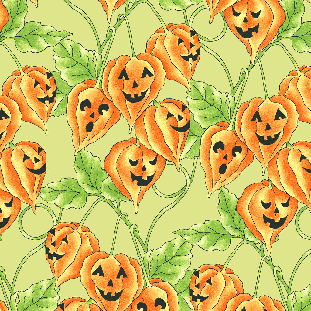 JACK-O-LANTERN VINE - GREEN from the Spellcasters Garden Fabric Line, Toad Hollow Fabrics